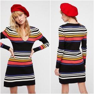 Free People Black Stripe Gidget Knit Sweater Dress